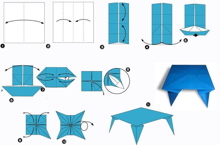 Поэтапная сборка столика для кукольного домика в технике оригами