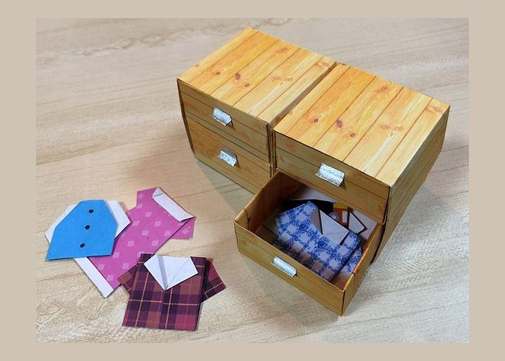 Поэтапная сборка тумбы  для кукольного домика в технике оригами