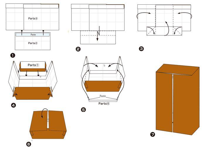 Поэтапная сборка шкафа  для кукольного домика в технике оригами