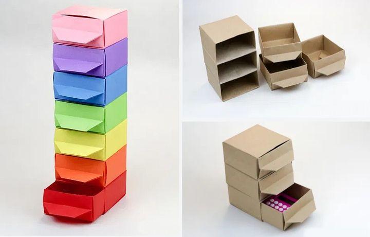 Поэтапная сборка комода для кукольного домика в технике оригами