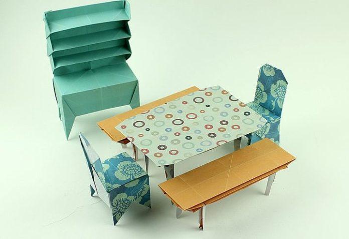 Мебель для кукольного домика в технике оригами