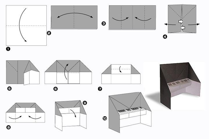 Поэтапная сборка фортепиано  для кукольного домика в технике оригами