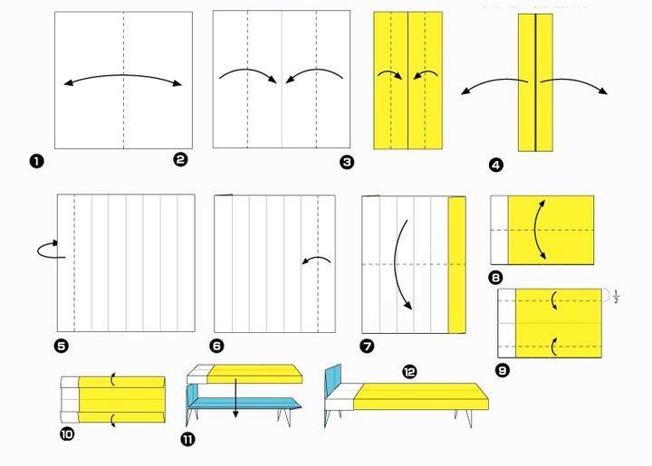 Поэтапная сборка матраса  для кукольного домика в технике оригами