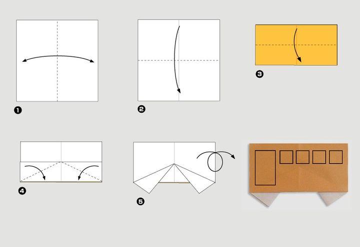 Схема сборки школьного оригами-автобуса