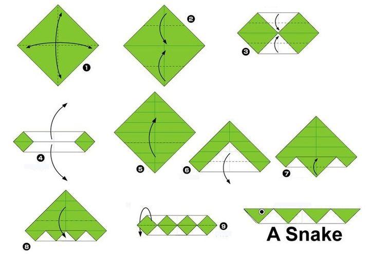 Схема змеи-оригами