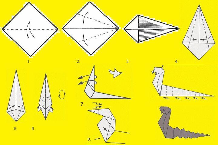Изготовление змеи-оригами