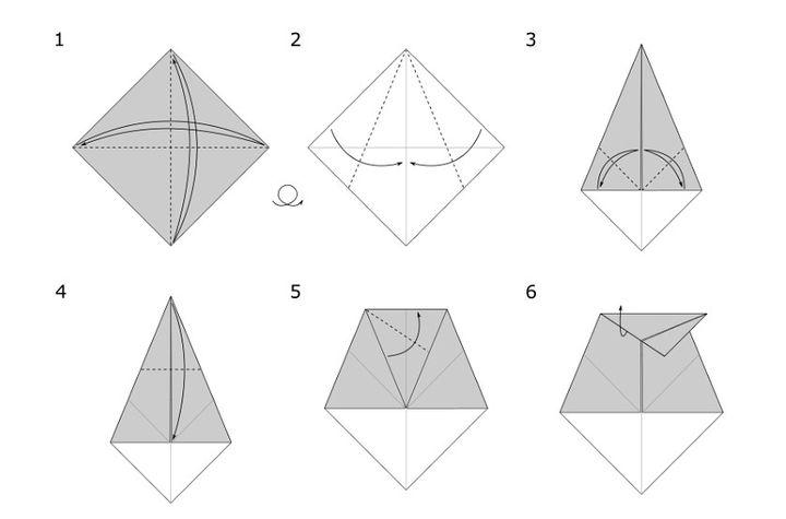 Пошаговая сборка волка-оригами