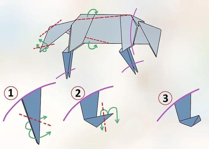 Этапы сборки оригами-волка