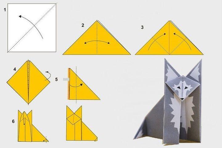 Пошаговая инструкция изготовления волка-оригами