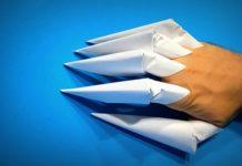 Оригами-когти из бумаги на палец