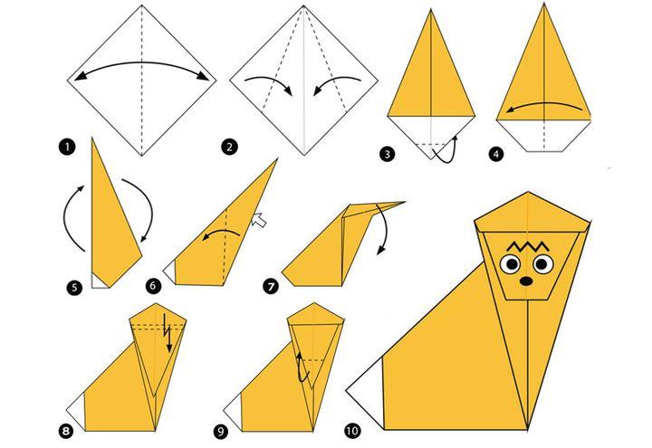 Сборка оригами-обезьяны для детей