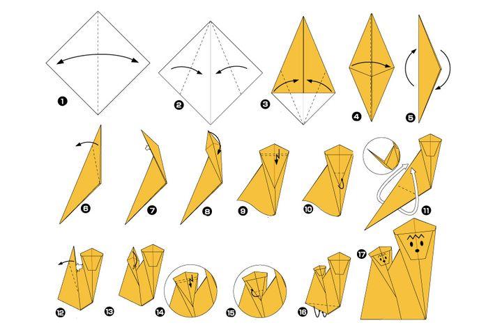 Сборка оригами-обезьяны с малышом