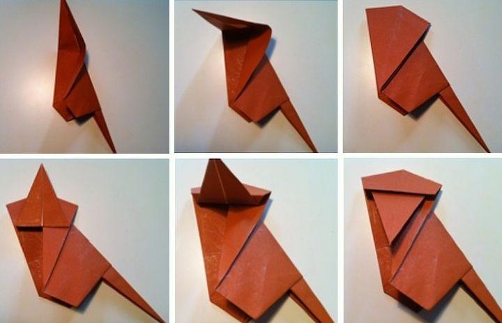 Схема сборки оригами-макаки