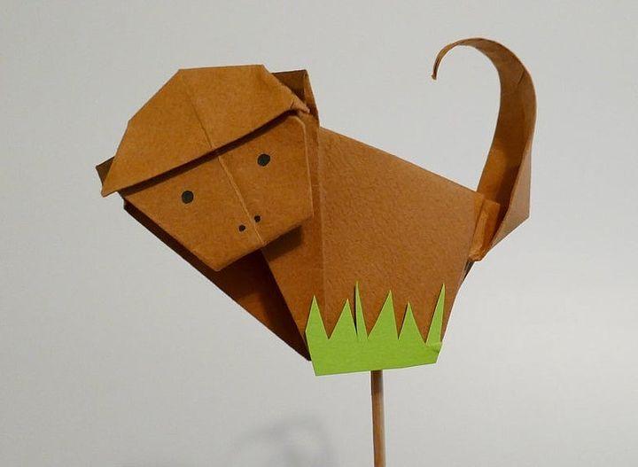 Обезьяна в технике оригами