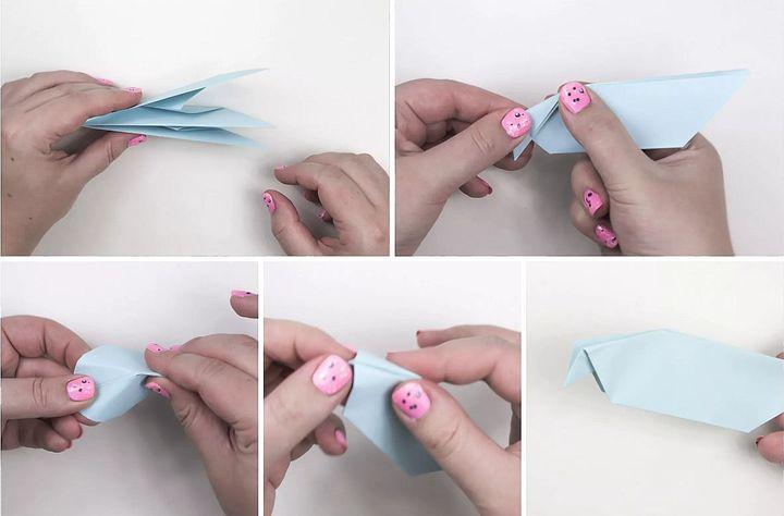 Этап сборки оригами-голубя