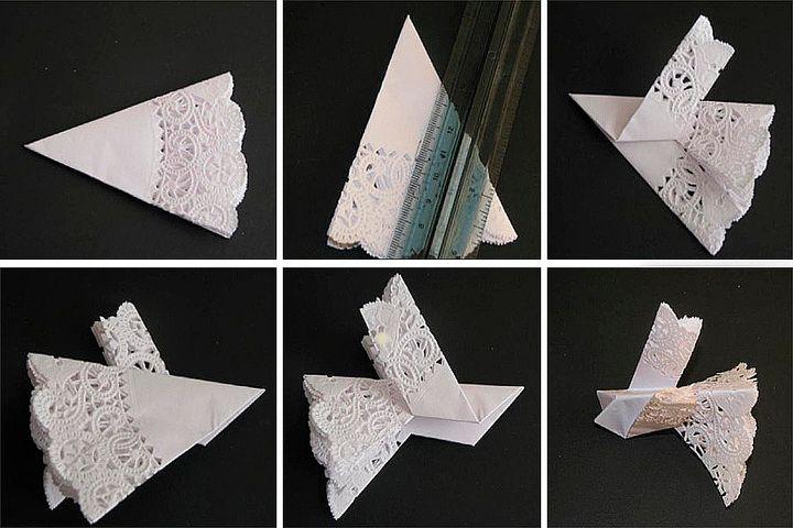 Сборка оригами-голубя из салфетки