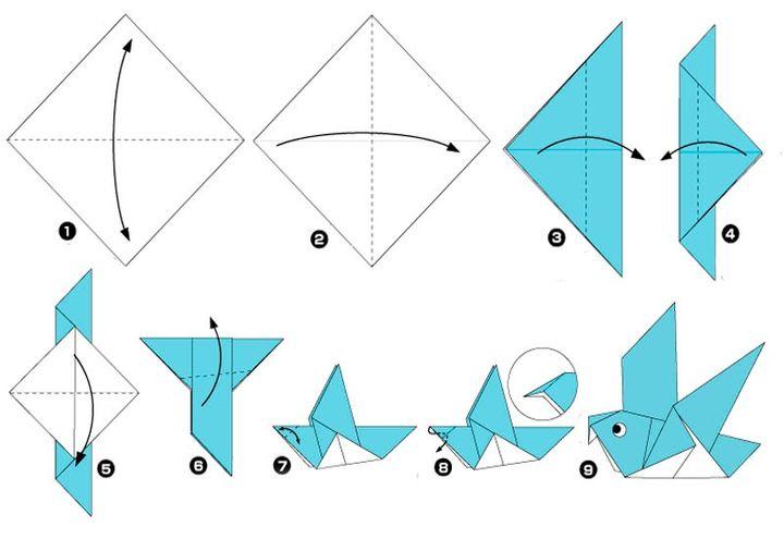 Схема сборки оригами-голубя