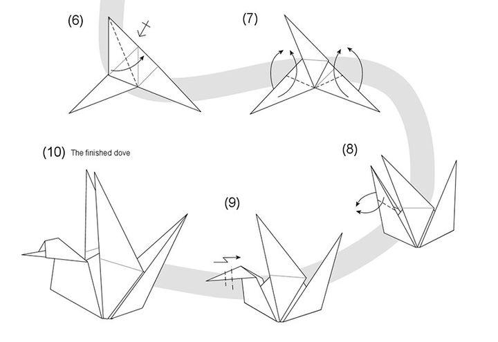 Поэтапное изготовление оригами-голубя