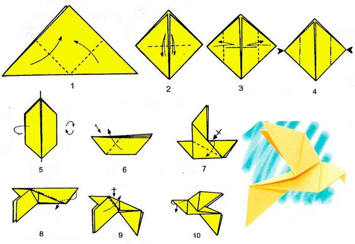 Пошаговая схема оригами-голубя