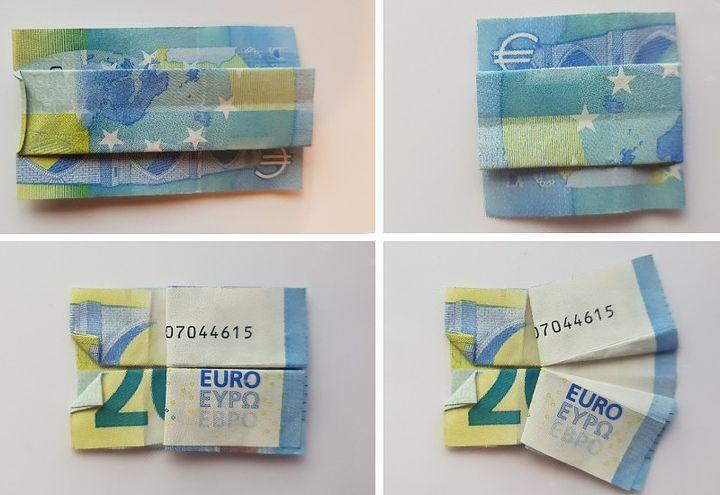 Схема оригами-платья из денег