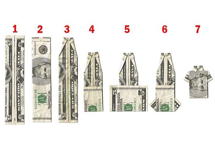 Схема оригами-рубашки из долларов