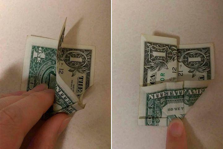 Схема оригами-бабочки из денег
