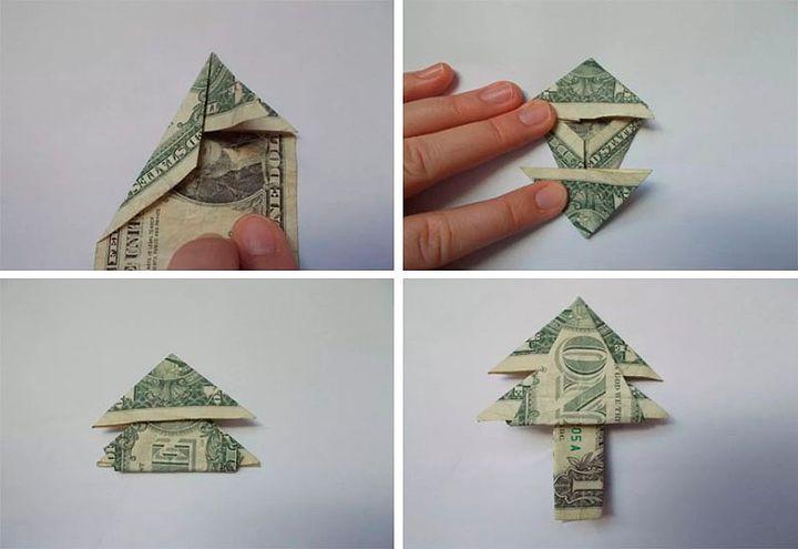 Схема оригами-дерева из денег
