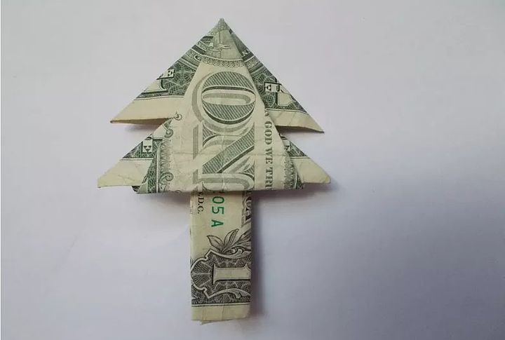Дерево-оригами из денег