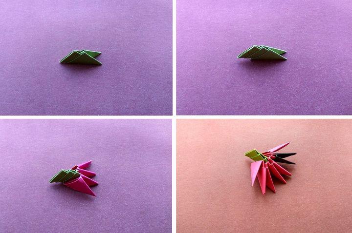 Этапы сборки оригами-клубники из модулей