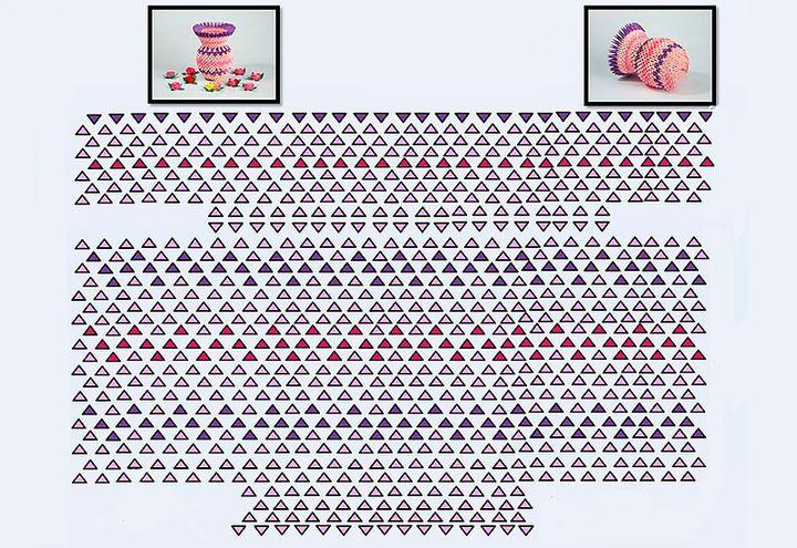 Схема сборки оригами-вазы из модулей