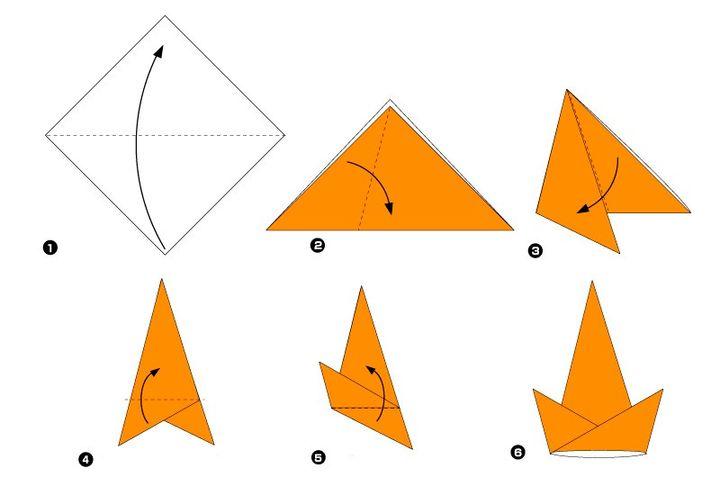 Схема изготовления оригами-колпака