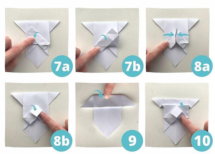Схема сборки оригами-бульдога