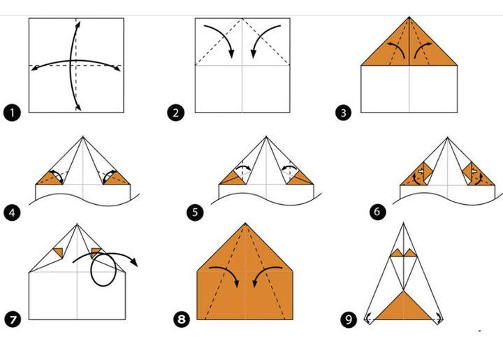 Схема сборки оригами-овчарки