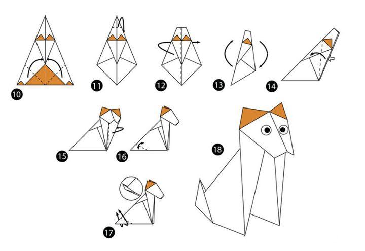 Схема сборки оригами-собаки