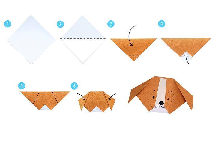 Схема сборки оригами-собачки