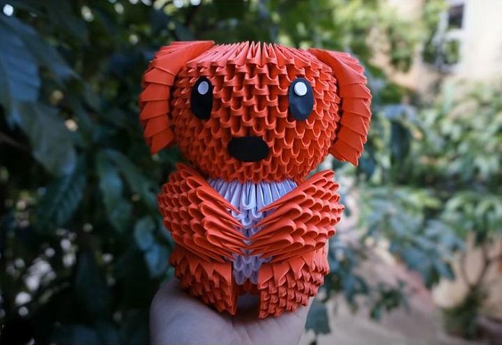 Пес в технике модульного оригами