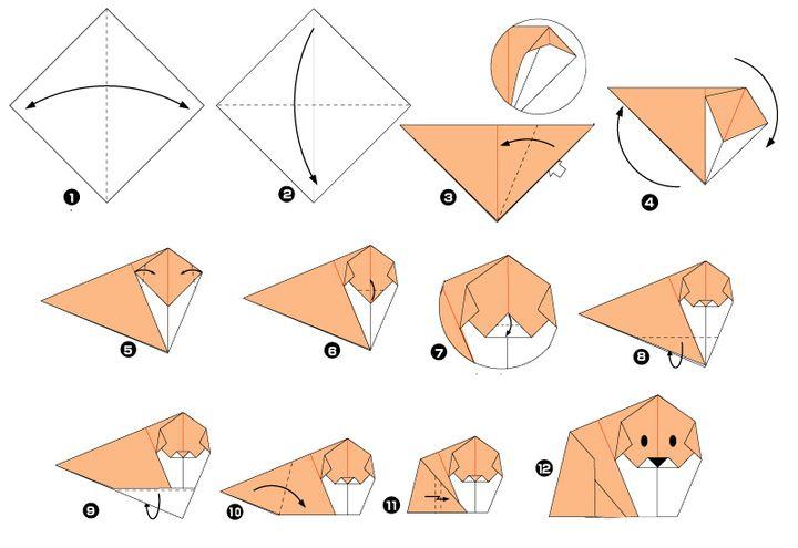 Схема сборки оригами-щенка