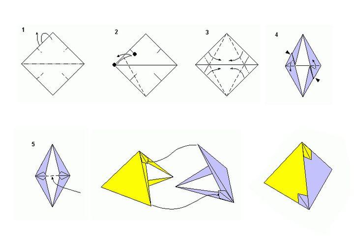 Этап изготовления двухцветного тетраэдра