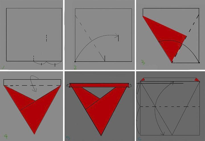 Этап изготовления бумажного тетраэд