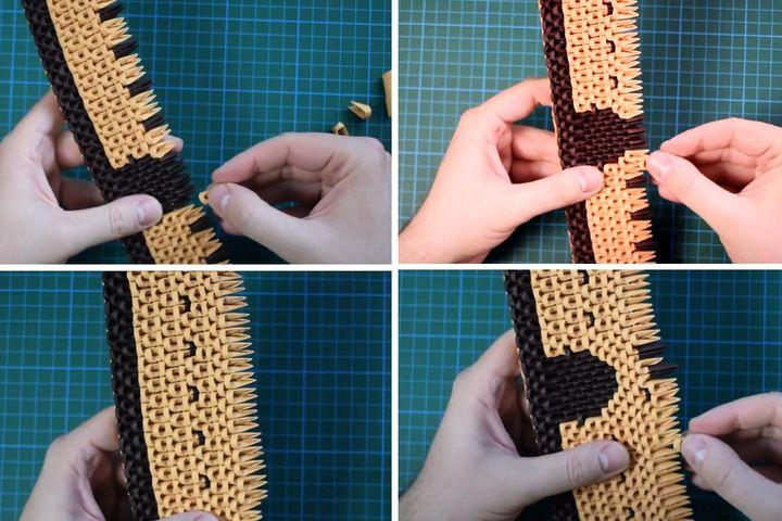 Сборка стены модульного замка-оригами