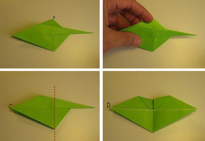 Этап сборки дракона-оригами