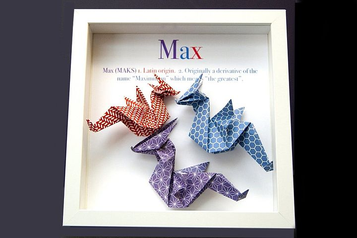 Оригами-драконы как поздравительная картинка