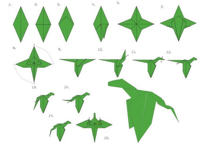 Схема изготовления оригами-дракона поэтапно
