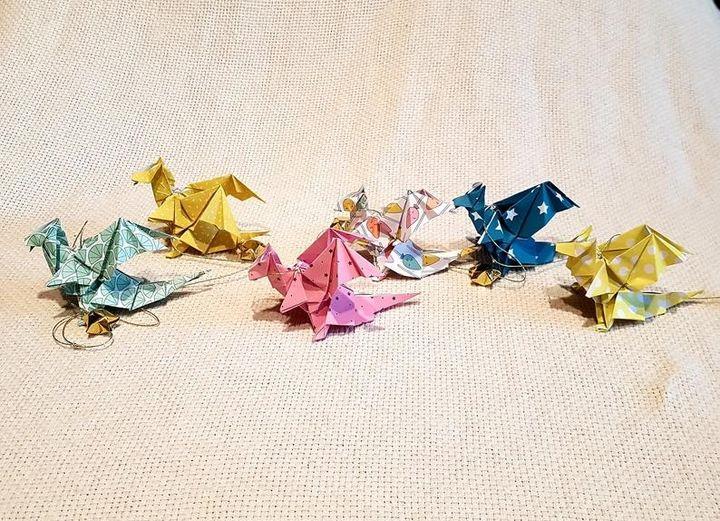 Драконы-оригами из бумаги