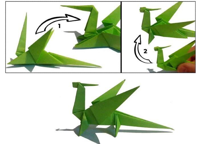 Схема сборки оригами-дракона