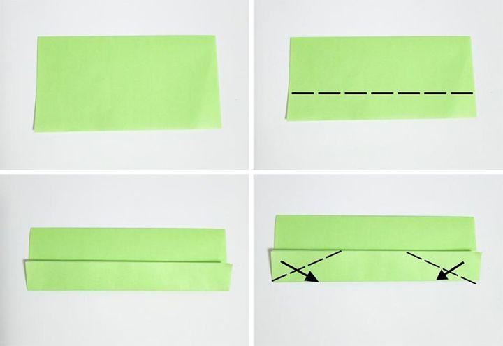 Этап сборки простого оригами-поезда