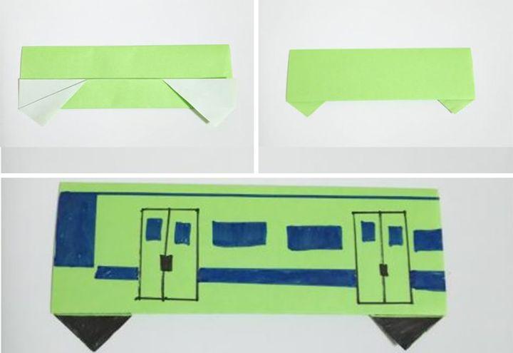Сборка простого оригами-поезда