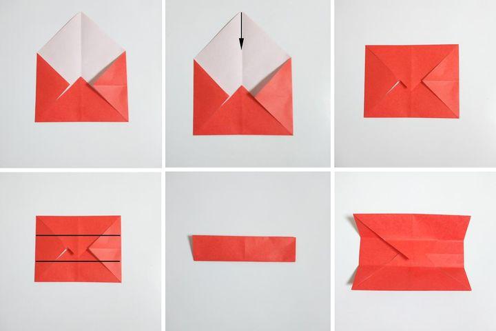 Этапы сборки оригами-паровозика