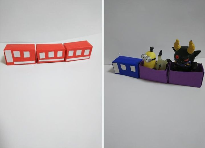 Простой оригами-паровозик