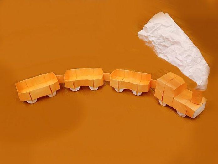 Оригами-паровозик